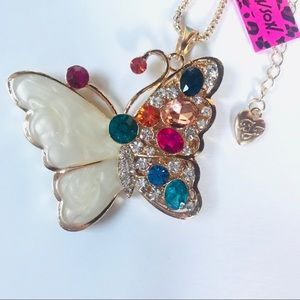 Colorful Crystal and Enamel Butterfly Necklace